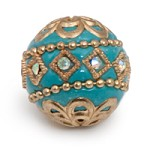 20mm Turquoise & Gold Mongolian Resin Bead (1-Pc)