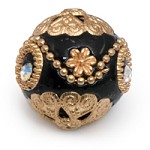 20mm Black & Gold Mongolian Resin Bead (1-Pc)