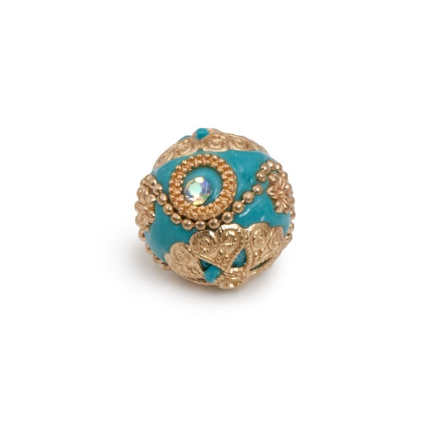 20mm Bead Beads: 20mm Turquoise & Gold Mongolian Resin Bead