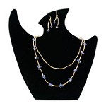 Black Velvet Padded Necklace Earring Combo Display with Easel Stand