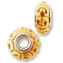 Large Hole Carved Bone 15x18mm Scrollwork (1-Pc)
