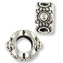 Large Hole Metal Bead with Dots 9x5mm Pewter Antique Silver Plated (1-Pc)