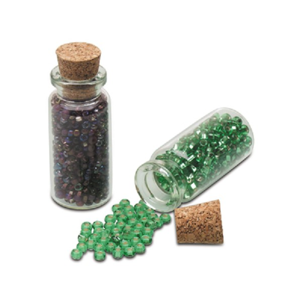 Cork Beads: Glass Bead Storage Bottle With