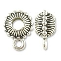 Beaded Crown Bail 15x7mm Pewter Antique Silver Plated (1-Pc)