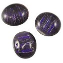 Dichroic Glass Free Form Oval Cabochon 15x13mm Dark Purple Stripes (1-Pc)