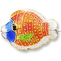 Handmade Cloisonne Fish Bead 17x23mm Red/Blue (1-Pc)