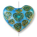 Handmade Cloisonne Heart Bead 27x24mm Blue/Green (1-Pc)