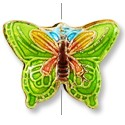 Machine Made Cloisonne Butterfly Bead 20x15mm Lime Green (1-Pc)