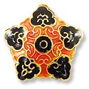 Handmade Cloisonne Flower Bead 18mm Pink/Black (1-Pc)
