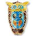 Handmade Cloisonne Owl Bead 24x17mm Purple/Blue (1-Pc)