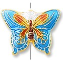 Machine Made Cloisonne Butterfly Bead 20x15mm SkyBlue (1-Pc)