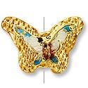 Handmade Cloisonne Puffed Butterfly Bead 9x19mm Gold (1-Pc)