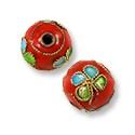 Machine Made Cloisonne Bead 9mm Round Red/Blue/Lime Green (2-Pcs)