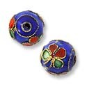 Machine Made Cloisonne Bead 9mm Blue/Red/Lime (2-Pcs)