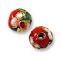 Machine Made Cloisonne Bead 8mm Red/Pink/Green (2-Pcs)