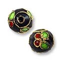 Machine Made Cloisonne Bead 9mm Black/Green/Red (2-Pcs)