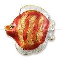 Handmade Cloisonne Angelfish Bead 30mm Orange/Tan (1-Pc)