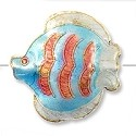 Handmade Cloisonne Angelfish Bead 30mm Light Blue/Pink (1-Pc)