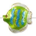 Handmade Cloisonne Angelfish Bead 30mm Lime/Blue/White (1-Pc)