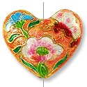 Handmade Cloisonne Heart Bead 27x23mm Peach (1-Pc)