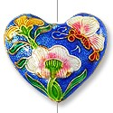 Handmade Cloisonne Heart Bead 27x23mm Blue (1-Pc)