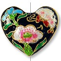 Handmade Cloisonne Heart Bead 27x23mm Black (1-Pc)