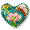 Handmade Cloisonne Heart Bead 27x23mm Teal (1-Pc)