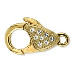 Lobster Clasp with Crystal 17.5mm Gold Plated