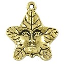 Tree Spirit Charm 21.75x19mm Pewter Antique Gold Plated