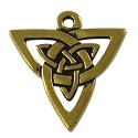 Celtic Open Weave Triangle 21mm Pewter Antique Gold Plated (1-Pc)