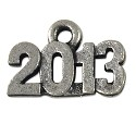 2013 Charm 14x9mm Pewter Antique Silver Plated (1-Pc)