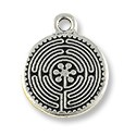 Labyrinth Charm 17mm Pewter Antique Silver Plated (1-Pc)
