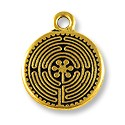 Labyrinth Charm 17mm Pewter Antique Gold Plated (1-Pc)