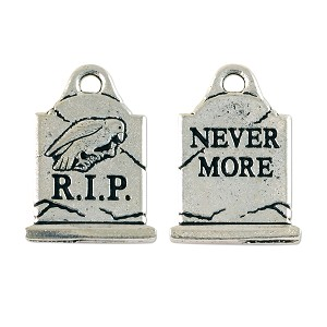 Gravestone Charm 20x15mm Pewter Antique Silver Plated (1-Pc)