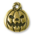 Jack O' Latern Charm 18x15mm Pewter Antique Brass Plated (1-Pc)