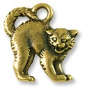 Scary Cat Charm 18x17mm Pewter Antique Brass Plated (1-Pc)