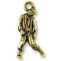 Zombie Charm 26x12mm Pewter Antique Brass Plated (1-Pc)