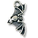 Bat Charm 23x11mm Pewter Antique Silver Plated (1-Pc)