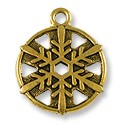Snowflake Charm 19mm Pewter Antique Brass Plated (1-Pc)
