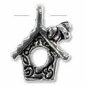 Birdhouse Charm 16x12mm Pewter Antique Silver Plated (2-Pcs)