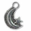 Moon & Star Charm 18x12mm Pewter Antique Silver Plated (2-Pcs)