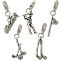 Golf Charm Set (5-Pcs) with Clasp Silver Plated