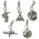 Baseball Charm Set  (5-Pcs) with Clasp Silver Plated