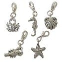 Ocean Charm Set  (5-Pcs) with Clasp Silver Plated