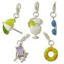 Beach Charm Set (5-Pcs) with Clasp Silver Plated