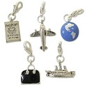 Travel Charm Set (5-Pcs) with Clasp Silver Plated