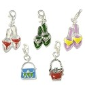 Fashion Charm Set (5-Pcs) with Clasp Silver Plated