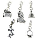 Marriage Charms Set (5-Pcs) with Clasp Silver Plated