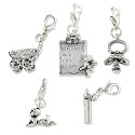 Baby Charms Set (5-Pcs) with Clasp Silver Plated