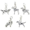 Dog Charms  Set (5-Pcs) with Clasp Silver Plated